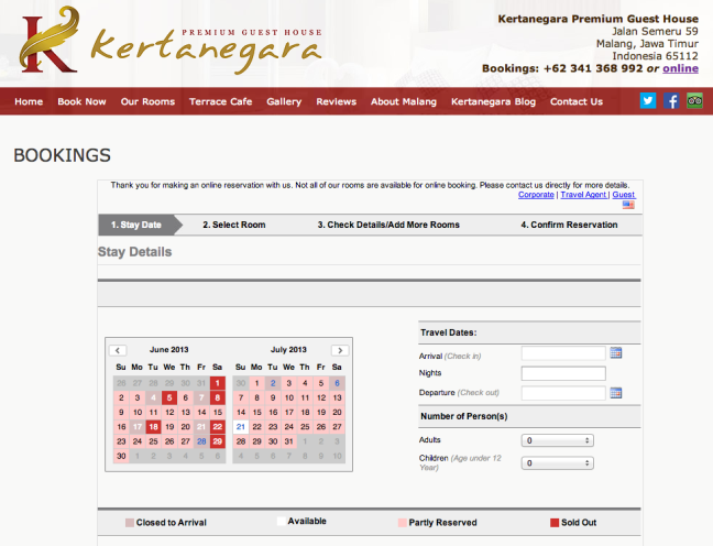 Kertanegara guest house booking screenshot