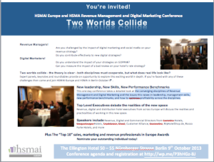 HSMAI Europe and HSMA Germany Revenue Management and Digital Marketing conference