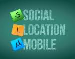 The words Social Location and Mobile