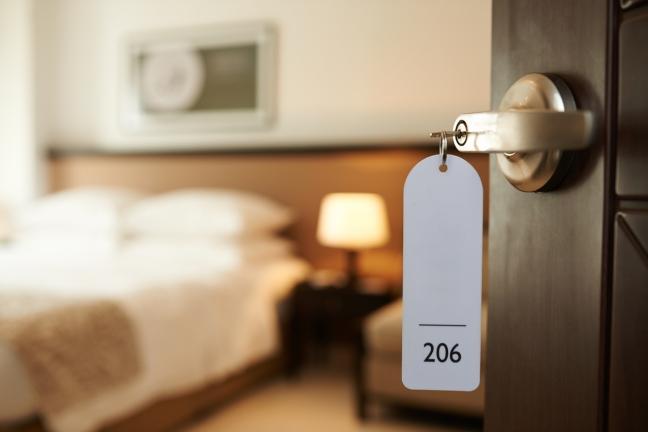 Entering hotel room